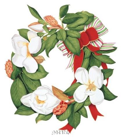 Magnolia Wreath by Nancy Kaestner art print