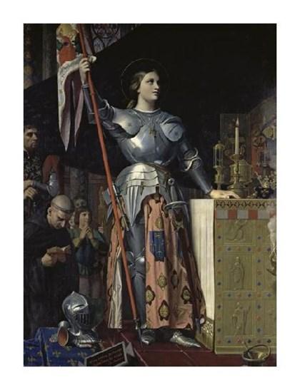 Оранжевый. черный. картина Энгр Жанна Дарк. желтый. розовый. голубой. белый