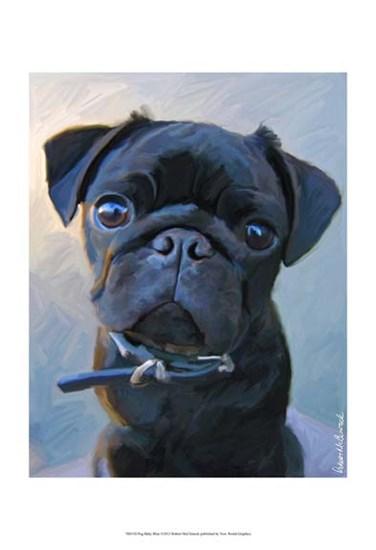 Pug Baby Blue by Robert McClintock art print