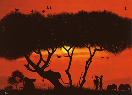 Evening Mood with Two Warriors by Timothé Kodjo Honkou art print