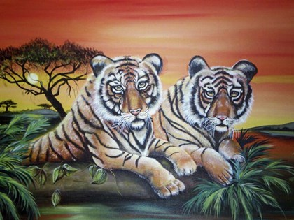 Tigers by Sue Clyne art print