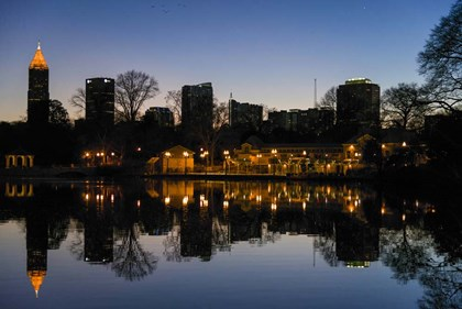 Midtown Skylines and Lake, Atlanta by Panoramic Images art print
