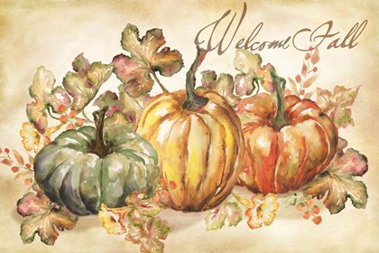 Watercolor Harvest Welcome Fall by Tre Sorelle Studios art print