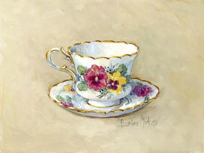 Pansy Teacup by Barbara Mock art print
