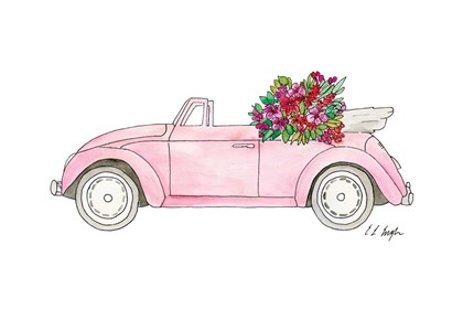 Pink Car with Tropical Flowers by Elise Engh art print