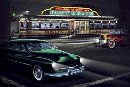 Diners and Cars II by Helen Flint art print