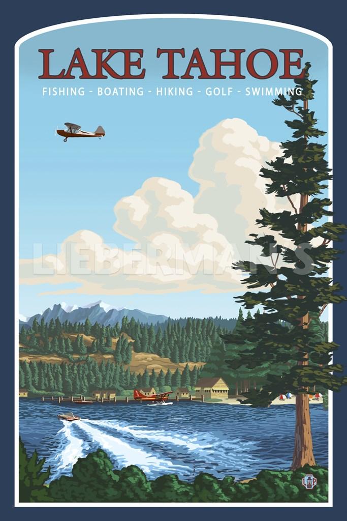 Lake tahoe fishing boating fine art print by lantern press for Lake tahoe fish